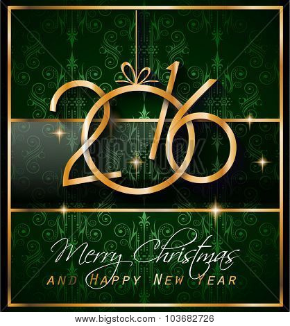 2016 Happy New Year Background for your Christmas Flyers, dinner invitations, festive posters, restaurant menu cover, book cover,promotional depliant, Elegant greetings cards and so on.