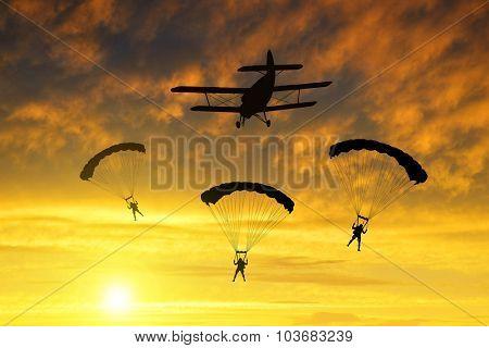 Silhouette skydiver parachutist landing