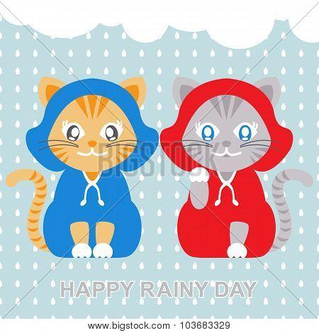 Cats Wearing Raincoat In Rainy Day