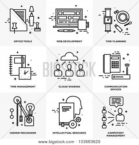 Flat Style, Thin Line Art Design. Set of application development, teamwork, web site coding, data, idea concept, information and mobile technologies vector icons and elements Modern vectors collection