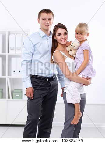 Happy family. Father, mother and child