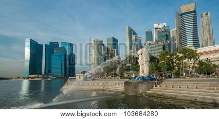 SINGAPORE - May 10: The Merlion fountain in front of the Marina Bay Sands hotel on May 10, 2014 in