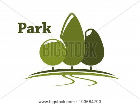 Park landscape icon with trees on meadow