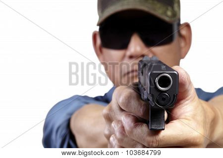 Man Aiming and Shooting Pistol Weapon Front Facing on White
