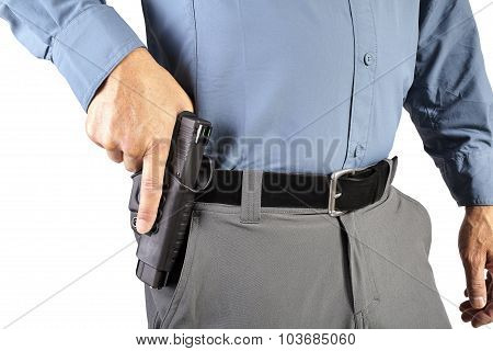 Law Enforcement Professional Man with Firearm Weapon