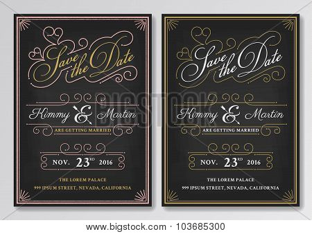 Vintage Chalkboard Save The Date Wedding Invitation Template.