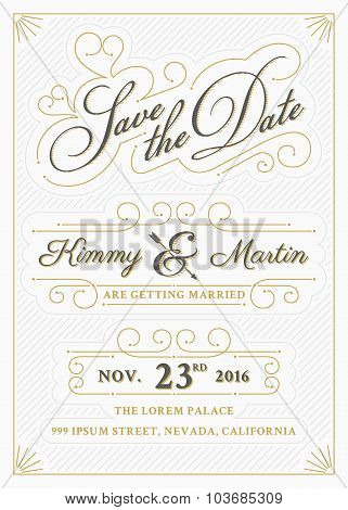 Vintage Save The Date Card Letterpress Style Design.