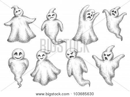 Halloween flying monsters and ghosts