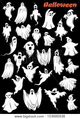 White flying monsters, ghouls and ghosts