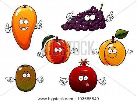 Cartoon ripe isolated fruit characters