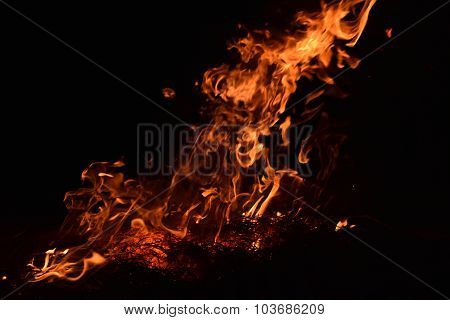 Fire from the burning straw
