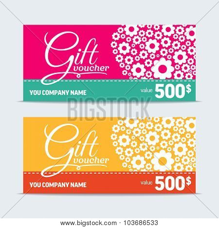 Colorful gift voucher. Vector template