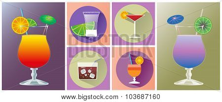Cocktail Glasses Of Different Shapes Icon Set