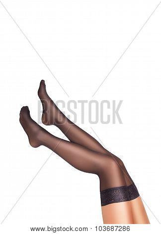 Sexy female legs in black stockings