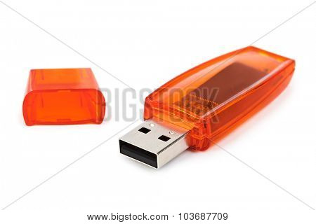 Flash usb memory drive isolated on white background