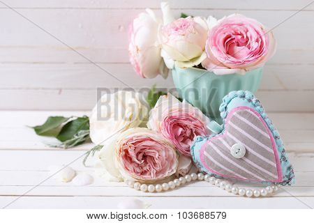 Background With Sweet Pink Roses Flowers  And Decorative Heart