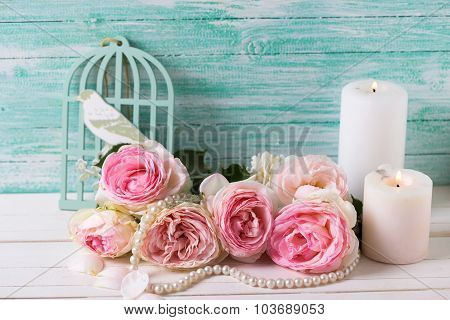 Background With  Pink Roses Flowers And Candles