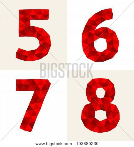 Red Polygonal Numbers 5-8