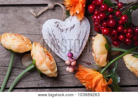 Decorative Heart And Flowers In Autumn Colors