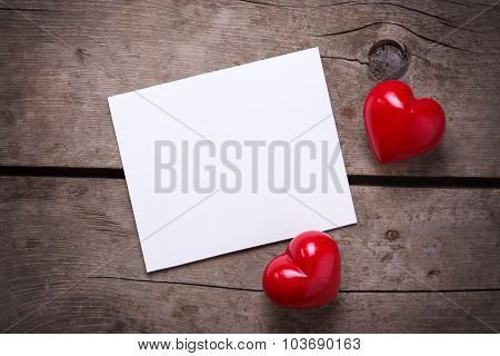 Hearts And Empty Tag  On Wooden Background