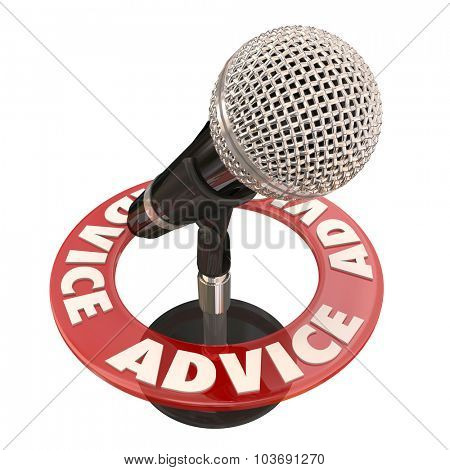 Advice word on ring around a microphone to illustrate a talk show host sharing tips or information via broadcast communication on a