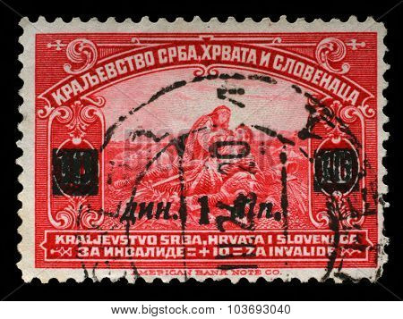 KINGDOM OF SERBIA, CROATIA AND SLOVENIA - CIRCA 1921: a stamp printed in Kingdom of Serbia, Croatia and Slovenia for the Benefit of Invalid Soldiers, circa 1921.