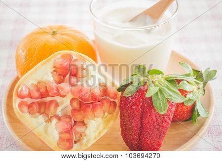 Glass Of Yogurt With Fresh Mix Fruit