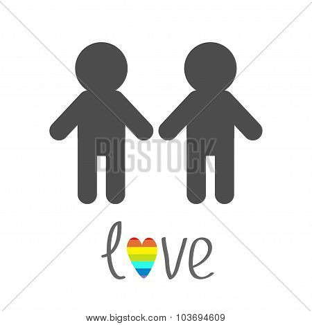 Gay Marriage Pride Symbol Two Man Silhouette Lgbt Icon Rainbow Heart Love Flat Design