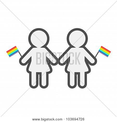 Gay Marriage Pride Symbol Two Contour Women With Rainbow Flags Lgbt Icon Flat Design