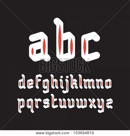 Fat Rounded Line Gothic Style Font. White font with red inserts