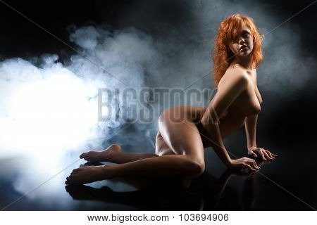 Young Nude Woman And Smoke