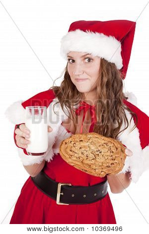 Mrs Santa With Milk And Big Cookie