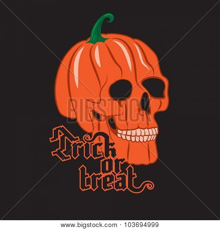 Halloween Pumpkin Skull on black background. Happy Halloween poster