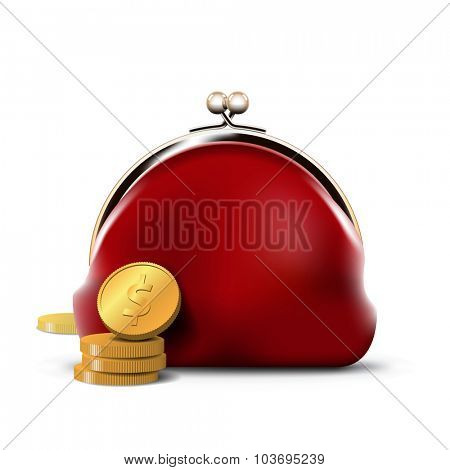 Red Purse with Gold Coins