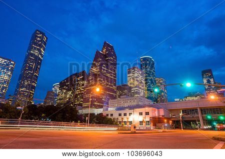 View Of Downtown Houston At Twilight