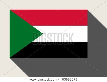 Sudan flag in flat web design style.