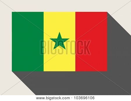 Senegal flag in flat web design style.