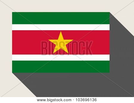 Suriname flag in flat web design style.