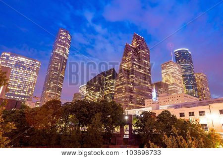 View Of Downtown Houston At Twilight With Skyscraper