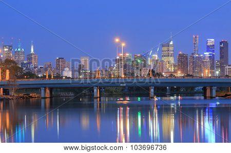 Melbourne night cityscape Australia