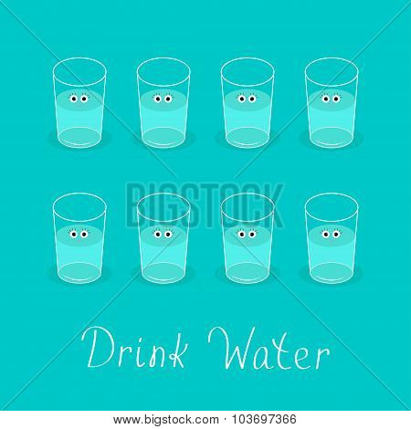 Drink 8 Glasses Of Water. Cute Face With Eyes Healthy Lifestyle Concept. Infographic. Flat Design.