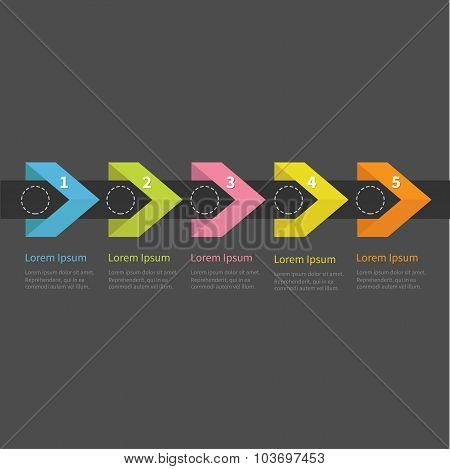Infographic Five Step With Ribbon Arrow Dashed Circle And Text. Template. Timeline Dark Background F