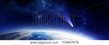 Panorama illustration of a blue Earth like alien planet in space with a comet