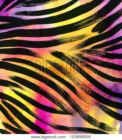 animal fur background. zebra stripe abstract exotic fur watercolor hand drawn background. watercolor