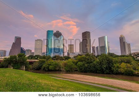 Houston Texas  Skyline At Sunset Twilight From Park Lawn