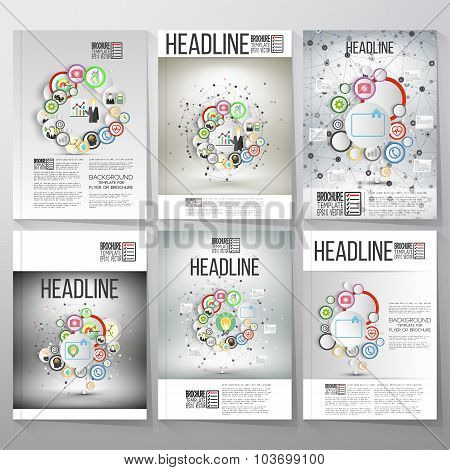 Business vector templates, brochure, flyer or booklet. Team standing over gray background with timel