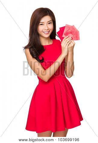 Chinese woman hold with red pocket