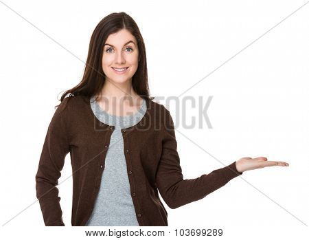 Beautiful woman with hand showing blank sign