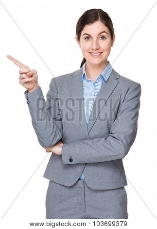 Caucasian businesswoman with finger point up