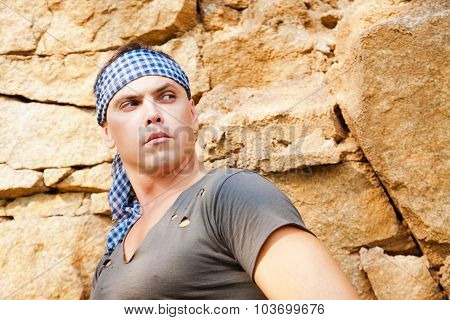 Man Resting In The Mountains